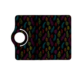 Whimsical Feather Pattern, bright pink red blue green yellow, Kindle Fire HD (2013) Flip 360 Case