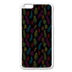 Whimsical Feather Pattern, bright pink red blue green yellow, Apple iPhone 6 Plus/6S Plus Enamel White Case