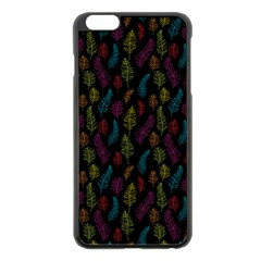 Whimsical Feather Pattern, bright pink red blue green yellow, Apple iPhone 6 Plus/6S Plus Black Enamel Case