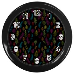 Whimsical Feather Pattern, bright pink red blue green yellow, Wall Clock (Black)