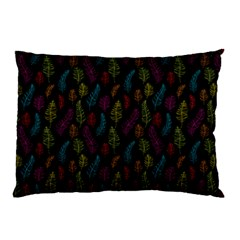 Whimsical Feather Pattern, bright pink red blue green yellow, Pillow Case