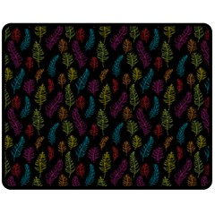 Whimsical Feather Pattern, bright pink red blue green yellow, Double Sided Fleece Blanket (Medium)