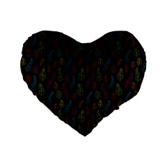 Whimsical Feather Pattern, bright pink red blue green yellow, Standard 16  Premium Flano Heart Shape Cushion