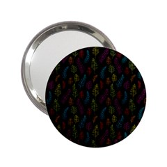 Whimsical Feather Pattern, bright pink red blue green yellow, 2.25  Handbag Mirror