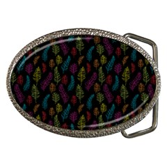 Whimsical Feather Pattern, bright pink red blue green yellow, Belt Buckle