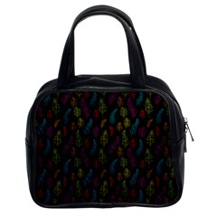 Whimsical Feather Pattern, bright pink red blue green yellow, Classic Handbag (Two Sides)