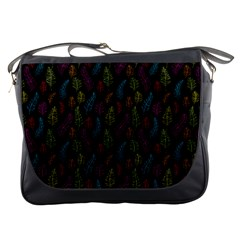 Whimsical Feather Pattern, bright pink red blue green yellow, Messenger Bag