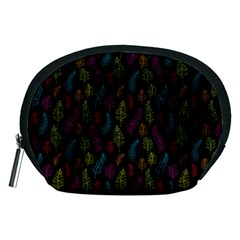 Whimsical Feather Pattern, bright pink red blue green yellow, Accessory Pouch (Medium)