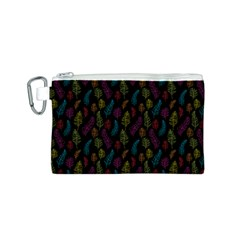 Whimsical Feather Pattern, bright pink red blue green yellow, Canvas Cosmetic Bag (Small)