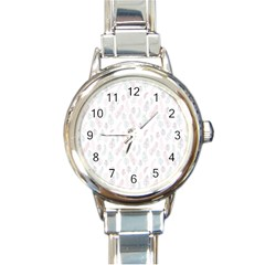 Whimsical Feather Pattern, soft colors, Round Italian Charm Watch