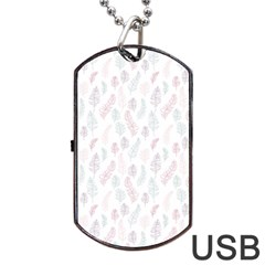Whimsical Feather Pattern, soft colors, Dog Tag USB Flash (One Side)