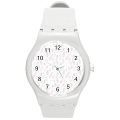 Whimsical Feather Pattern, soft colors, Round Plastic Sport Watch (M)