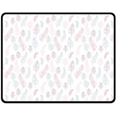 Whimsical Feather Pattern, soft colors, Double Sided Fleece Blanket (Medium)