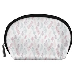 Whimsical Feather Pattern, soft colors, Accessory Pouch (Large)