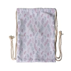 Whimsical Feather Pattern, soft colors, Drawstring Bag (Small)