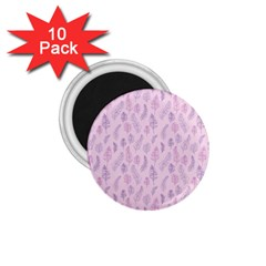Whimsical Feather Pattern, pink & purple, 1.75  Magnet (10 pack)