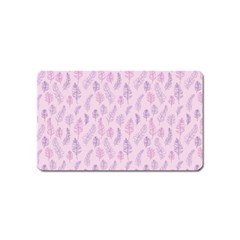 Whimsical Feather Pattern, pink & purple, Magnet (Name Card)