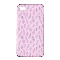 Whimsical Feather Pattern, pink & purple, Apple iPhone 4/4s Seamless Case (Black)