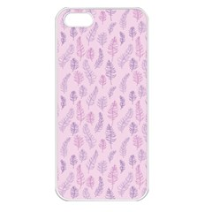 Whimsical Feather Pattern, pink & purple, Apple iPhone 5 Seamless Case (White)