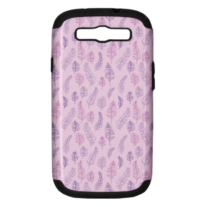 Whimsical Feather Pattern, pink & purple, Samsung Galaxy S III Hardshell Case (PC+Silicone)