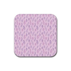 Whimsical Feather Pattern, pink & purple, Rubber Square Coaster (4 pack)
