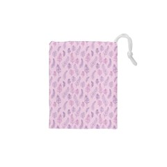 Whimsical Feather Pattern, Pink & Purple, Drawstring Pouch (xs)