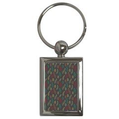 Whimsical Feather Pattern, autumn colors, Key Chain (Rectangle)
