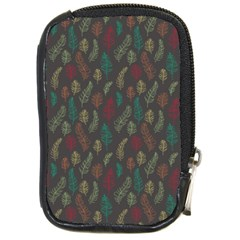 Whimsical Feather Pattern, autumn colors, Compact Camera Leather Case