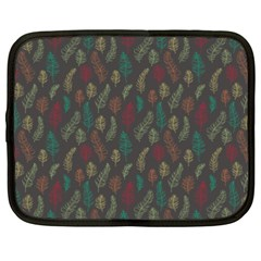Whimsical Feather Pattern, autumn colors, Netbook Case (XXL)