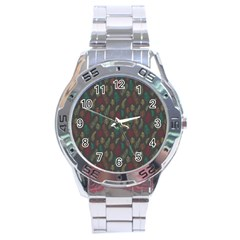 Whimsical Feather Pattern, autumn colors, Stainless Steel Analogue Watch