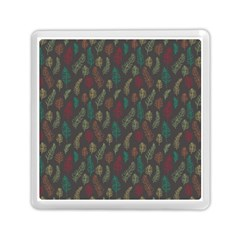Whimsical Feather Pattern, autumn colors, Memory Card Reader (Square)