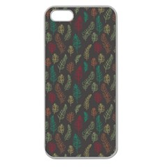 Whimsical Feather Pattern, autumn colors, Apple Seamless iPhone 5 Case (Clear)