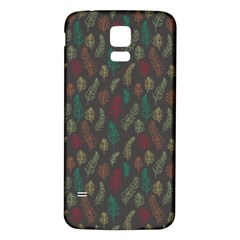 Whimsical Feather Pattern, autumn colors, Samsung Galaxy S5 Back Case (White)