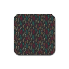 Whimsical Feather Pattern, autumn colors, Rubber Square Coaster (4 pack)