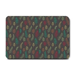 Whimsical Feather Pattern, autumn colors, Small Doormat