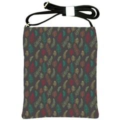 Whimsical Feather Pattern, autumn colors, Shoulder Sling Bag
