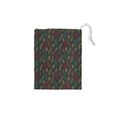 Whimsical Feather Pattern, Autumn Colors, Drawstring Pouch (xs)