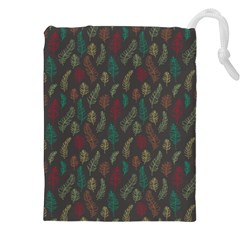 Whimsical Feather Pattern, autumn colors, Drawstring Pouch (XXL)