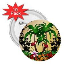 Tropical Design With Flamingo And Palm Tree 2.25  Buttons (10 pack)