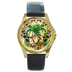Tropical Design With Flamingo And Palm Tree Round Gold Metal Watch