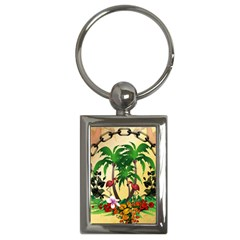 Tropical Design With Flamingo And Palm Tree Key Chains (Rectangle)