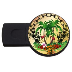 Tropical Design With Flamingo And Palm Tree USB Flash Drive Round (1 GB)