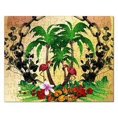 Tropical Design With Flamingo And Palm Tree Rectangular Jigsaw Puzzl