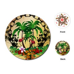Tropical Design With Flamingo And Palm Tree Playing Cards (Round)
