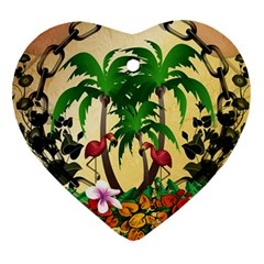 Tropical Design With Flamingo And Palm Tree Heart Ornament (2 Sides)