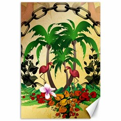 Tropical Design With Flamingo And Palm Tree Canvas 12  x 18