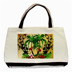 Tropical Design With Flamingo And Palm Tree Basic Tote Bag (Two Sides)