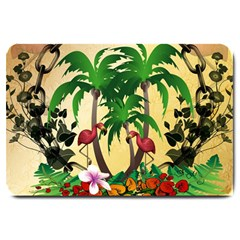 Tropical Design With Flamingo And Palm Tree Large Doormat