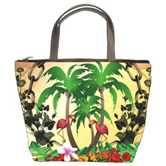 Tropical Design With Flamingo And Palm Tree Bucket Bags
