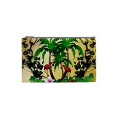 Tropical Design With Flamingo And Palm Tree Cosmetic Bag (Small)